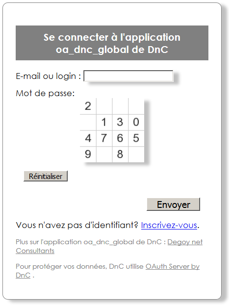 Formulaire d'identification avec GhostKeys